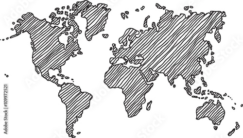 Recess Fitting World Map Freehand world map sketch on white background.