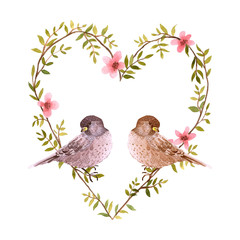 FototapetaWatercolor birds and heart of flowers.