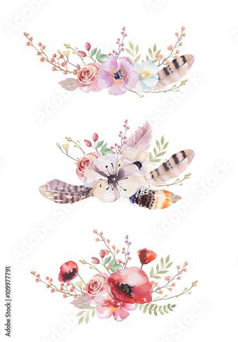 Naklejki na meble Boho z Wiosennymi Kwiatami i Liściem