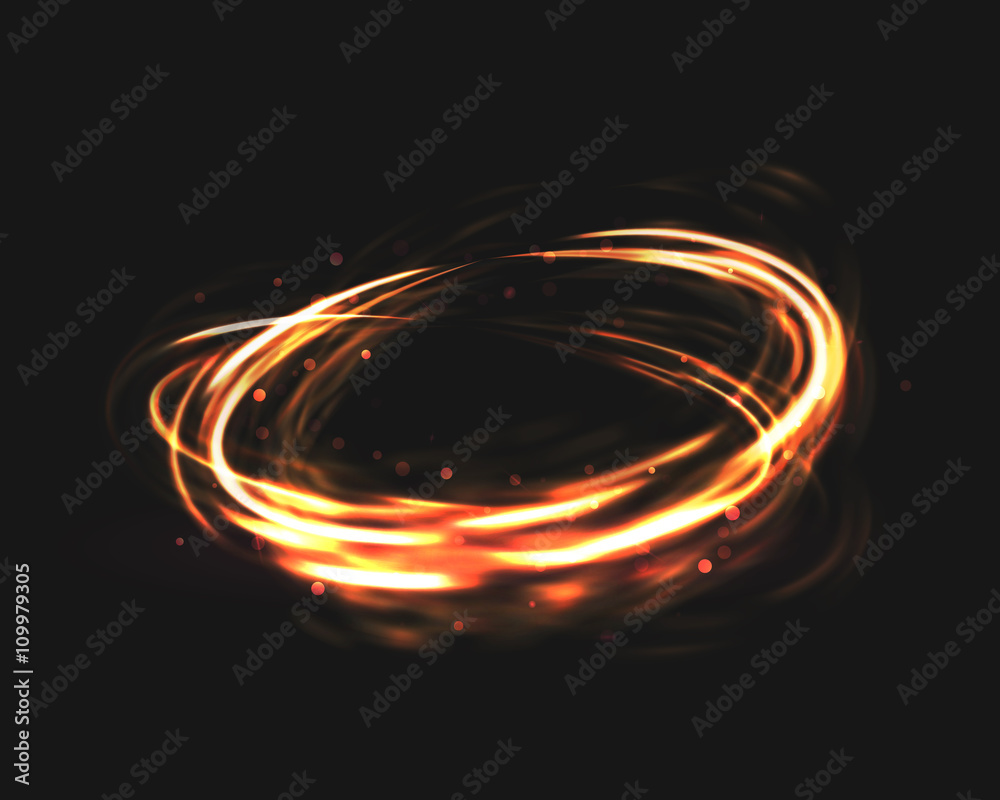 Fototapety, obrazy: The tornado of light with sparkling lines. Bokeh particles on the swirling circles. Motion element on black background glowing light. Shiny gold color dodge effect. Vector illustration.