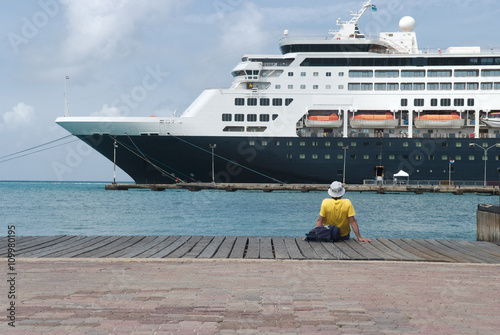 Large cruise ship docked at the port of Aruba, Caribbean islands Poster