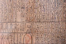 Ancient Hieroglyphs On Papyrus...