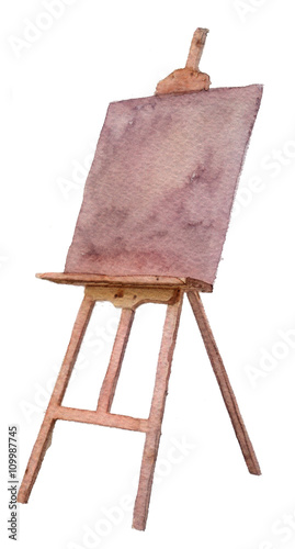 Photographie watercolor sketch: an easel on a white background
