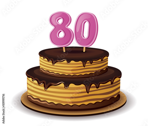 Birthday Cake With Candle Number 80
