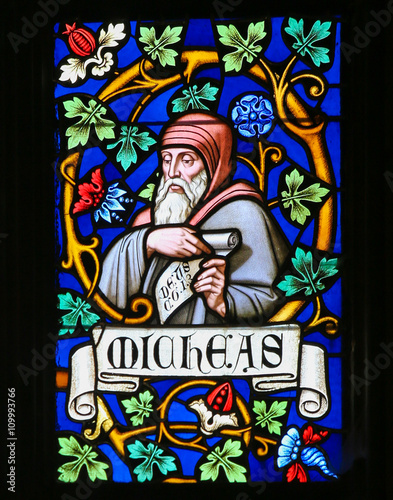 Tuinposter Imagination Stained Glass - The Prophet Micah
