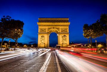 Obraz na Szkle Miasto Nocą Arc de Triomph, Triumphbogen in Paris