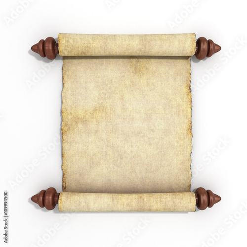 old papyrus scroll isolated on white background 3d render © nosorogua