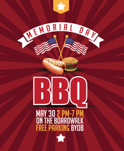 Memorial Day BBQ Background With Hot Dog And Hamburger. EPS 10 Vector.