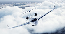 Realistic Image Of White Luxury Generic Design Private Airplane Flying Over The Earth. Empty Blue Sky With White Clouds At Background. Business Travel Concept. Horizontal. 3d Rendering