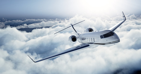 Fototapeta Samoloty Realistic photo of White Luxury generic design private jet flying over the earth. Empty blue sky with white clouds at background. Business Travel Concept. Horizontal. 3d rendering