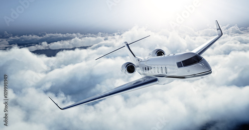 Realistic photo of White Luxury generic design private jet flying over the earth. Empty blue sky with white clouds at background. Business Travel Concept. Horizontal. 3d rendering - 109998949