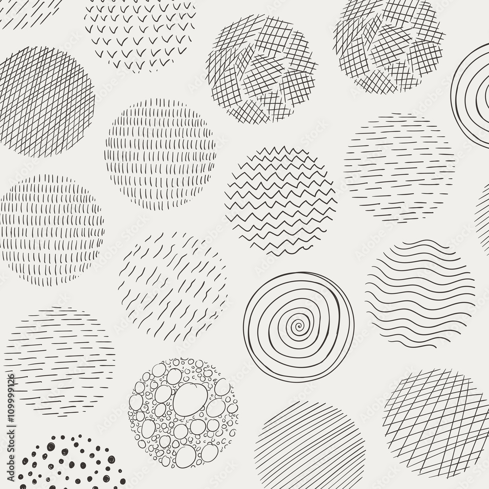Vector Illustration of Abstract Doodle Circles