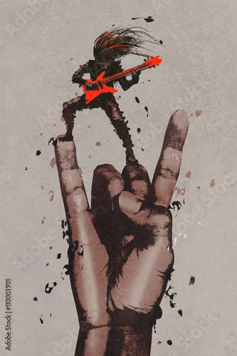 duza-reka-symbolizujaca-znak-rock-and-roll-z-gitarzysta-grajacym-na-czerwonej-gitarze-ilustracja-malarstwo