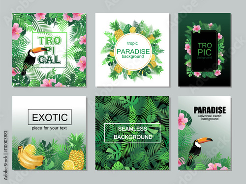 Tropical printable cards collection with palm leaves, toucan.