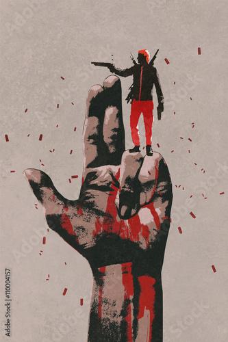 duża ręka w znak pistoletu z pistoletu strzelania człowieka, malarstwo ilustracja