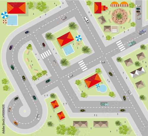 Poster de jardin Route Top view of the city of streets, roads, houses, vector
