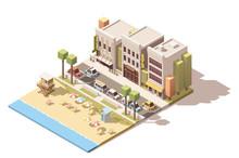Vector Isometric Town Beach