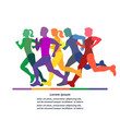 Running people. Colorful hand drawn vector illustration of running silhouettes. Men and women.