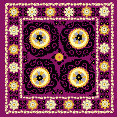 Uzbek traditional embrodery vector illustration. susane pattern