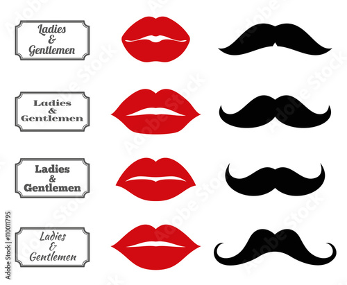 Obraz Ladies and gentlemen bathroom symbols. Vector lips and moustache icons. Lip and moustache fashion, vintage silhouette lip and moustach, hipster lip and moustach illustration - fototapety do salonu