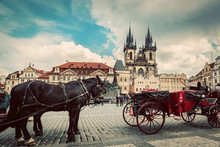 Old Town Of Prague, Czech Republic. Horse Carriage For Tourists. Tyn Church, Vintage