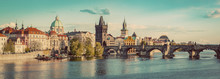 Prague, Czech Republic Panorama With Historic Charles Bridge And Vltava River. Vintage