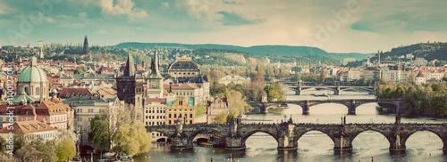 Poster Prague Prague, Czech Republic bridges skyline with historic Charles Bridge and Vltava river. Vintage