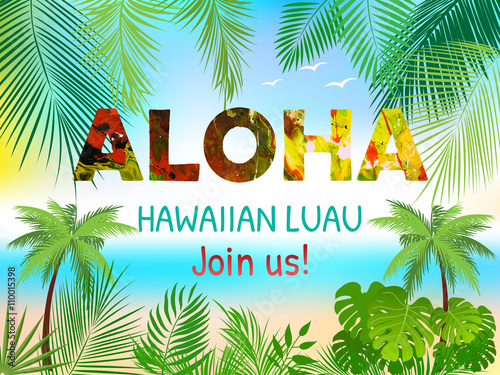 aloha hawaiian party template invitation buy this stock vector