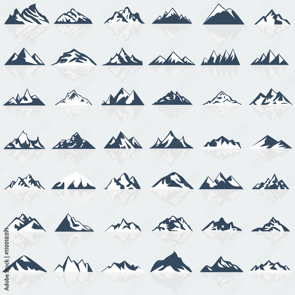 Fototapety, obrazy: Big mountain icons set. Vector illustration.