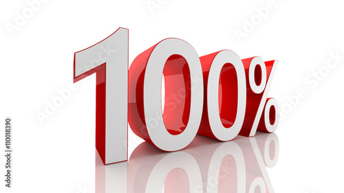 Fotografia  3D illustration of 100 percentage