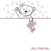 Romantic Card With Hand Drawn Cute Bear