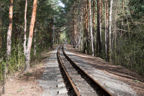 old rail road in green forest summer