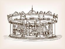 Children Carousel Sketch Style...