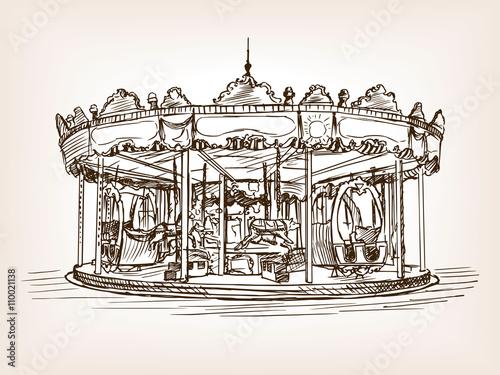 Fotografie, Obraz  Children carousel sketch style vector illustration