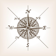 Compass Rose Sketch Style Vect...