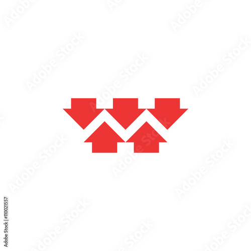 Valokuva  Five red converging arrows logo mockup, converge arrow merge form shape letter M