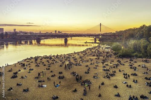 Fototapeta Warszawa - plaża miejska nad Wisłą. obraz