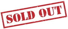 Sold Out Red Stamp On White Background