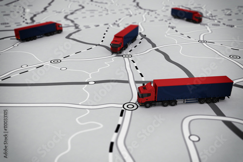 Photo  3D rendering of transport itinerary
