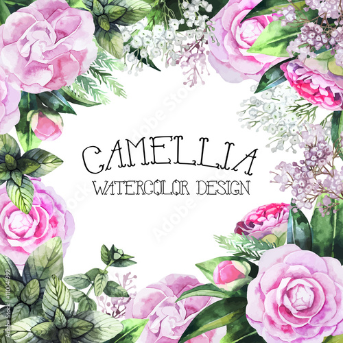 Watercolor camellia design Fototapete