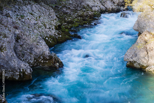 Foto auf Gartenposter Fluss Blue clean mountain river in Montenegro