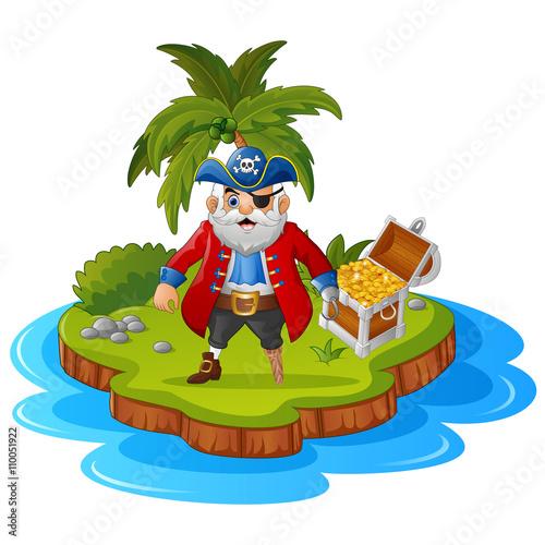 Spoed Foto op Canvas Magische wereld Pirate in the treasure island