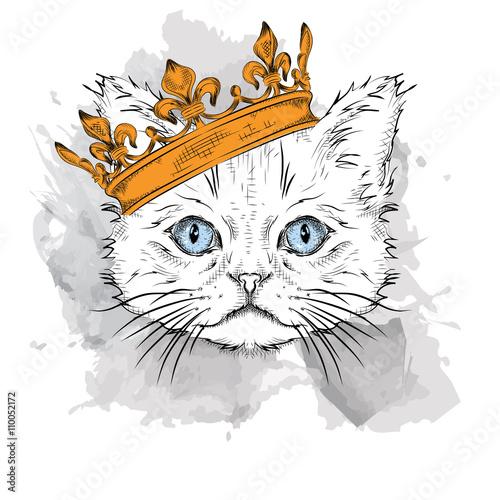 Deurstickers Hand getrokken schets van dieren Hand draw Image Portrait cat in the crown. Use for print, posters, t-shirts. Hand draw vector illustration