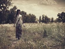 Walking In The Meadow, Beauty Female Portrait, Vintage Style