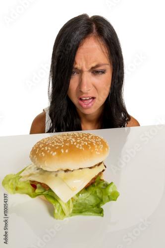 Fotografie, Obraz  Frau mit Hamburger
