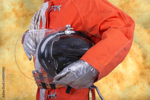 Poster Bleu nuit Fire fighter on white background
