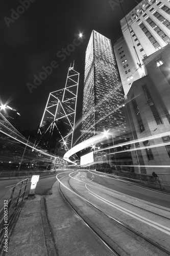 Fotografia, Obraz  Night traffic and skyline of Hong Kong city