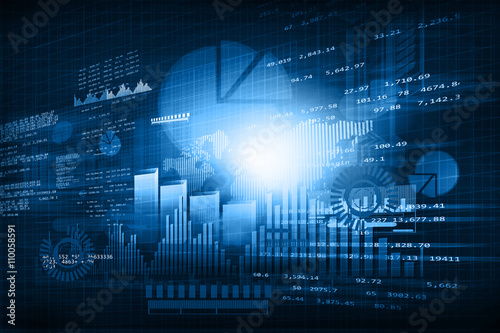 Fotografía  Financial chart and graphs background. stock market anylis. .