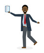 Businessan running on white background. Isolated cartoon character. African american businessman with clipboard. Successful achievement. Active work. Fast lifestyle.