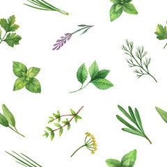 Panel Szklany Warzywa Watercolor vector seamless pattern hand drawn herb .